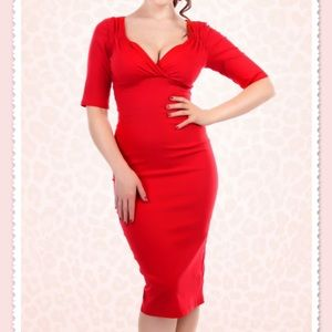 Collectif 50s trixie doll pencil dress red